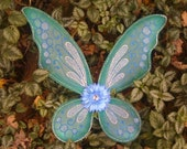 Teal Blue and Silver with Blue Flower Fairy Princess Butterfly Wings for Halloween costume, raves, festivals and fun made in Vermont