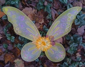 Yellow and Purple with a Yellow Sunflower Fairy Princess Butterfly Wings for Halloween costume, raves, festivals and fun made in Vermont