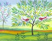 Trees - original watercolor - ACEO