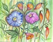 Spring Garden   - original watercolor painting - illustration -botanical painting -landscape - flowers