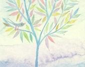 Fog - original watercolor painting - ACEO - fine art - landscape -wall decor - home decor- illustration - pastel colors