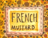 French Mustard - original watercolor  painting - kitchen art - illustration -wall decor - molMolly