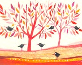 Black Birds -  original watercolors - ACEO - Fine Art