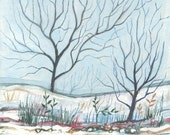 Melancholy -  acrylic  painting - original painting -illustration - wall decor - blue - landscape