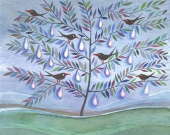 Tree of Tears - original watercolor painting - illustration -rain - tears- wall decor