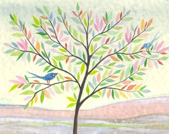 Sunny Day - original watercolor painting - tree -birds - spring landscape painting- wall decor