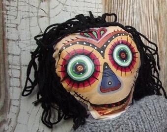 Art Doll - decorative art- original - hand sewn - hand painted - voodoo puppet - fiber art -painted- home living
