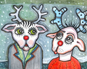 Rudolph and Rudolph - original mini gouache on paper - Home decor - illustration -reindeer -christmas - winter