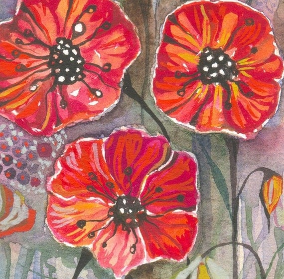 Morning in My Garden - original watercolor/gouache painting -botanical  illustration -wall decor- garden painting - red poppy - summer