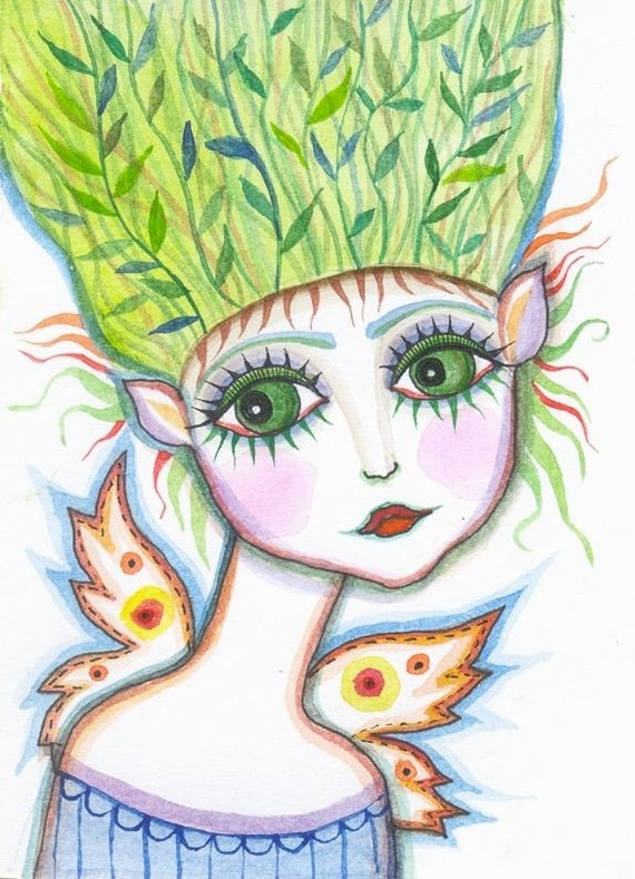 Angelica- Princess of the Elves  - original watercolor painting - fairy tale illustration