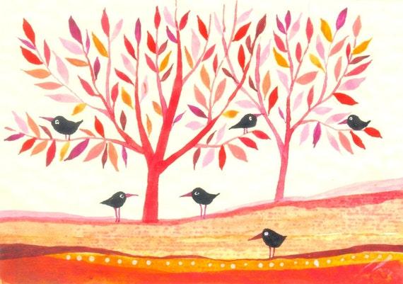 Black Birds -  original watercolors - ACEO - Fine Art