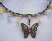 Flowers and Butterfly Necklace