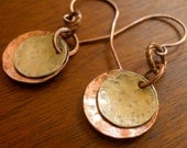 Mixed Metal Earrings - Everyday Earrings - Rustic Jewelry - Hammered Metal Earrings - Disc Earrings - Dangle Earrings