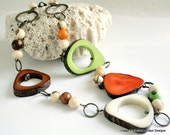 Tribal tagua acai necklace, eco jewelry,  lime, orange