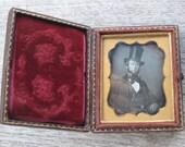 Antique Ninth Plate Daguerreotype Photograph of Dapper Man in Top Hat in Original Case