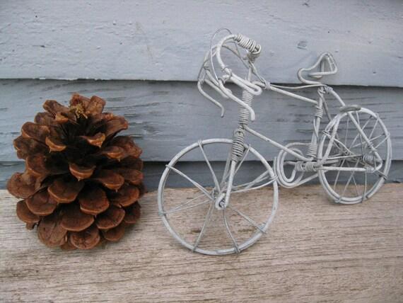 Pair of Miniature Vintage Metal Bicycle Figurines Decor