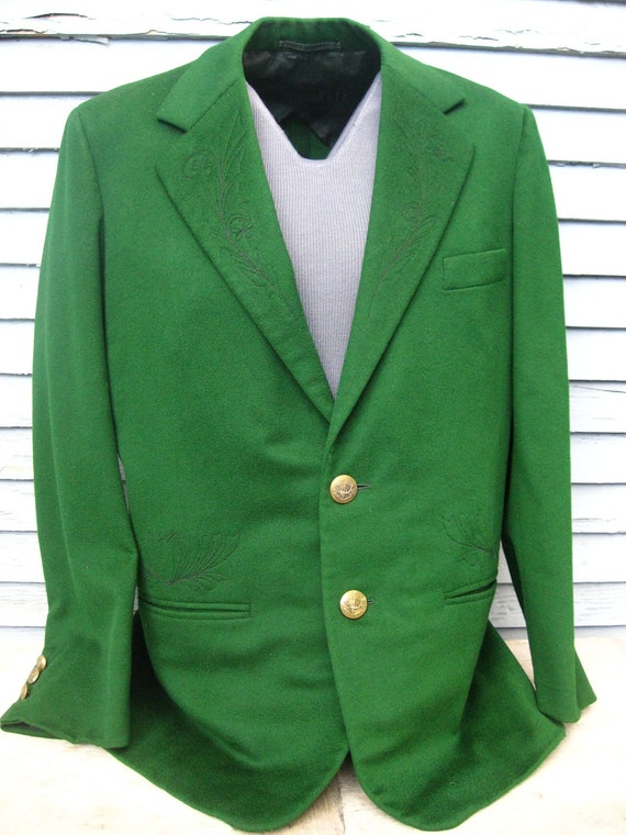 Men's Vintage Green Suit Jacket w/ Hand Embroidered Lotus Flowers & Fancy Buttons LG