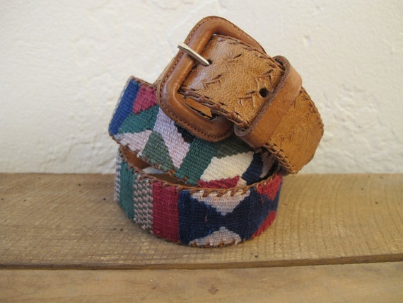 Vintage Ethnic IKAT Leather Belt Size 34
