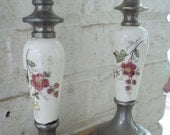 Shabby Porcelain and Metal Candlesticks