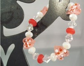 CLOSEOUT SALE 70% OFF - Hearts Lampwork Glass Bead Bracelet