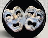 "Venetian Carnivale Mardi Gras Carnival Mask Pocket Mirror or Magnet - Comedy Tragedy Masks - 2.25"" 2-1/4 Inch"