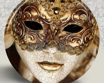 "Venetian Carnivale Carnival Mask Pocket Mirror or Magnet - 2.25"" 2-1/4 inch"