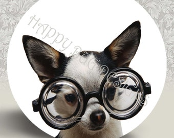 "Chihuahua in Glasses Pocket Mirror or Magnet 2.25"" 2-1/4"""