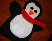 Hand Puppet - Penguin w/ Red Scarf