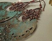 boho BOHEMIAN copper patina crescents GYPSY longer styled earrings