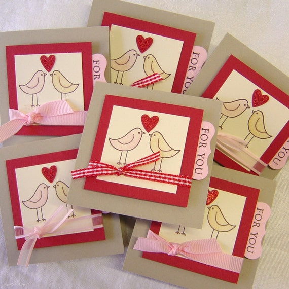 Valentine Cards, Set of 6 notecards, Birdies, Love Notes