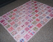 Shabby Style Chic Pink Floral Rag Style Quilt-Throw and Pillow Reserved for fede1967
