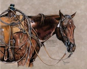 Colored Pencil on Suede Board of Ranch-Roping Horse