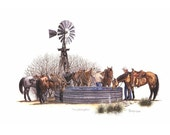The Watering Hole Art Print by B.Bruckner  from Colored Pencil Drawing