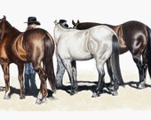 Waiting On Deck, Horse Show Print in Colored Pencil