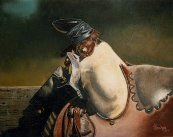 Old Friend, Western Print of an Old Saddle from an acrylic painting - B Bruckner