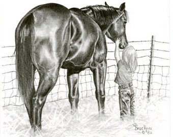 Little Girl and Horse Print entitled Soft Touch
