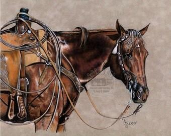 Colored Pencil Quarter Horse, Western Rope Horse Print by B Bruckner