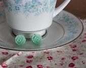big rose post earrings in aquamarine. (FREE US shipping)
