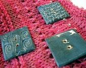 Three Large Square Blue Stone Buttons