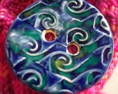 Giant Blue and Green Ceramic Button