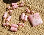 Rhodochrosite pink white gemstone wire linked necklace
