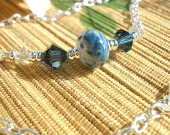 Blue swirl lampwork Swarovski Montana blue crystal handmade chained necklace