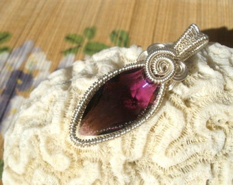 Amethyst purple Swarovski Navette Marquis shape wire wrapped large bailed pendant