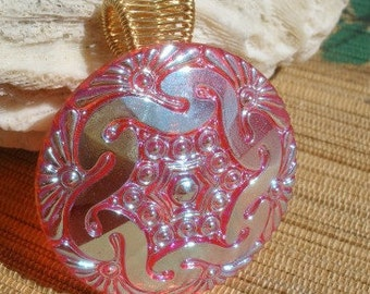 Red orange large Czech glass button wire wrapped large bailed pendant