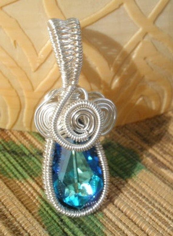 Capri blue large Swarovski crystal teardrop handmade wire wrapped large bailed pendant