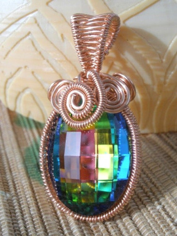 Copper wire wrapped rainbow vitral crystal red gold blue green checkerboard oval handmade pendant