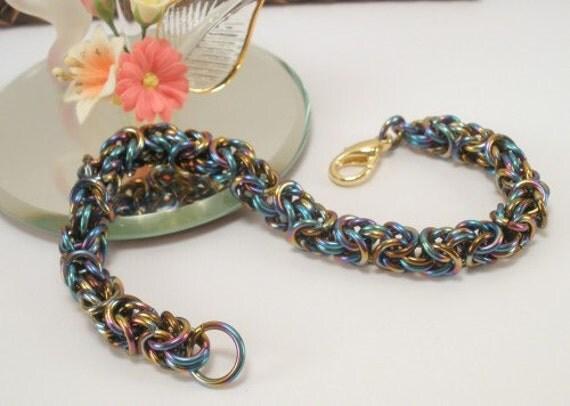 Niobium rainbow color rings bracelet Byzantine pattern chain maille artisan jewelry