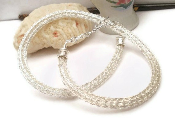 Silver Viking knit double weave handmade wire woven necklace