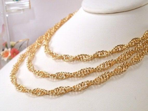 Handmade spiral twist pattern chain maille gold color bib necklace
