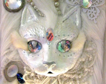 MOON DEITTY  Cat / White / Magic / Mosaic / Jewels / Bejewelled / Pearls / Collage / Sculpture/ Wall piece